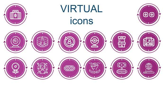 Editable 14 virtual icons for web and mobile