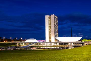 Photo Blinds Brazil Nightfall over the National Congress of Brazil in Brasilia