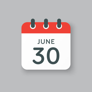 Icon calendar day 30 June, summer days of the year