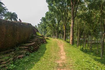 Walkway beside an ancient wall
