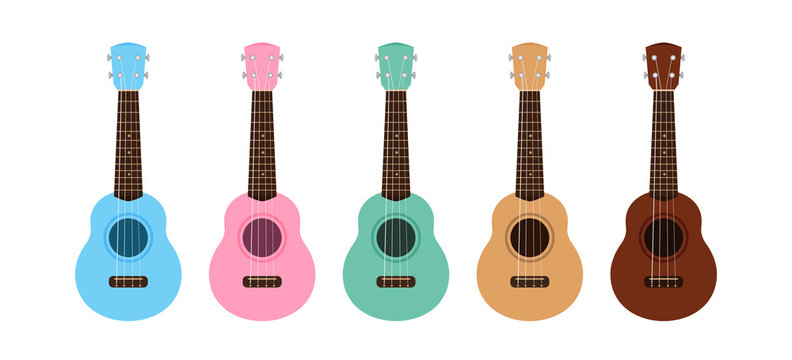 ukulele cute collection isolated on white, small ukelele pastel color for flat icon, realistic ukelele set for classical music play, ukulele classic retro style in holiday summer concept, small guitar