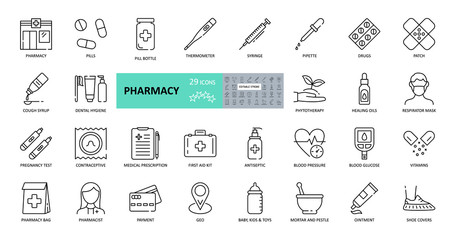 Obraz Vector pharmacy icons. Set of 29 images with editable stroke. Online sale medical preparations, equipment, thermometer, syringe, masks, shoe covers, vitamin, cough syrup, first-aid kit, contraceptives - fototapety do salonu