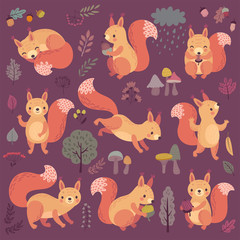 Wall Mural - Squirrel set hand drawn style.