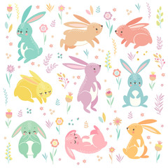 Fototapete - Cute bunnies sleeping, running, sitting. Lovely Easter characters.