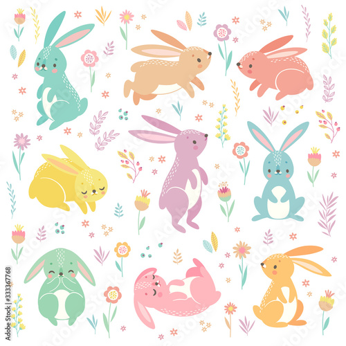 Wall mural Cute bunnies sleeping, running, sitting. Lovely Easter characters.