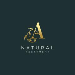 Letter A Botanical Elegant Minimalist Signature Logo