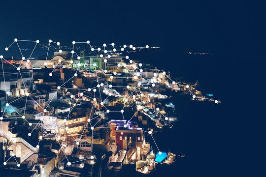 Beautiful night view of modern city