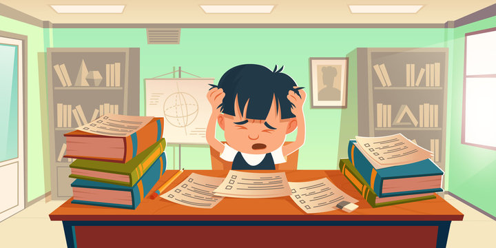 Kid got stress doing homework or prepare for exam. Cartoon schoolboy sitting at desk holding head, textbooks piles and test paper forms scattered around. Sad student in school Vector illustration
