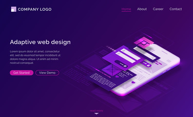 Adaptive interface design isometric landing page. User experience, ui ux mobile phone layouts, online form for login and password enter. Mobile app development, gadget software 3d vector web banner Papier Peint