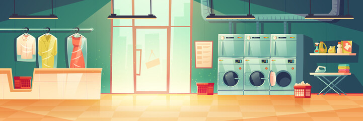 Public laundry or dry cleaning with laundromat washing machines, dryers, counter desk with hanger for clean clothing wrapped into cellophane. Empty room with glass door, Cartoon vector illustration