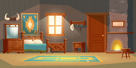 Cowboy bedroom interior with wooden bed, nightstand, fireplace and hat on hanger. Vector cartoon illustration of room in rustic house in wild west, western ranch with bull horns, carpet and mirror