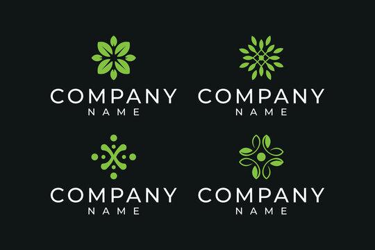 Leaf logo design bundle in green color