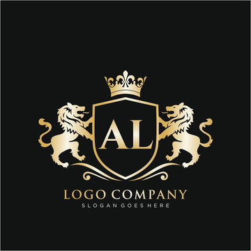 AL Letter Initial with Lion Royal Logo Template