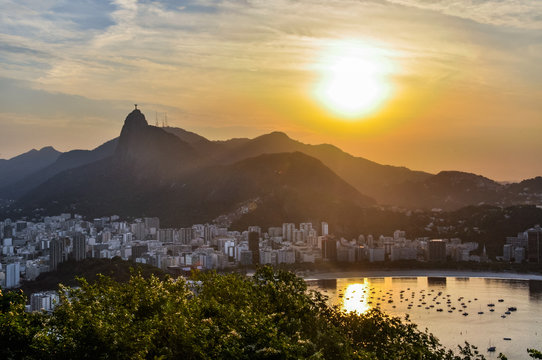 Panoramic view at sunset in Rio de Janeiro, Brazil