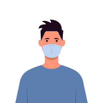 Young man wearing a medical mask to prevent illness, flu, air pollution, air pollution, world pollution. Vector illustration in a flat style.