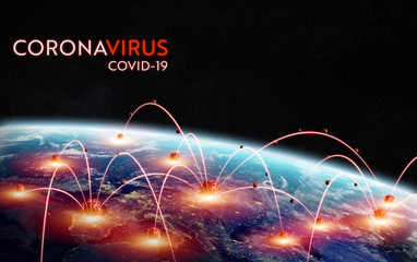 Coronavirus Covid-19 pandemic spreading in Europe between countries and infecting population 3D rendering