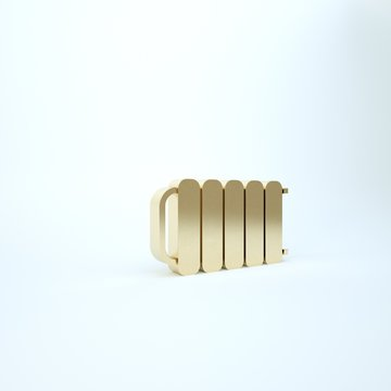 Gold Heating radiator icon isolated on white background. 3d illustration 3D render