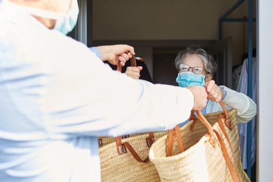 Delivering food for quarantined seniors