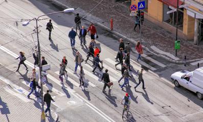 Busy street in Cluj-Napoca city center, Romania