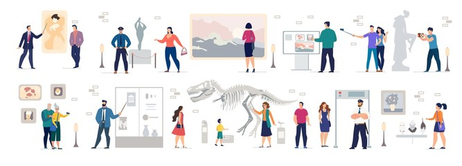 People Tourist Photographing at Art Gallery, Scientific, History Museum Set. Men Women Visiting Classic Artworks, Sculpture, Prehistoric, Ancient Exhibition. Cultural Tour Vector Illustration Bundle
