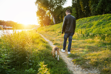 Young man takes his beloved dog for a walk in the park at sunset - Millennial in a moment of relaxation with his four-legged friend