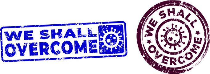 We shall overcome stamps. Self-isolation, Quarantine motivational stamps. Vector in grunge texture.
