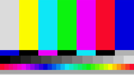 Telecommunication background. No TV signal. Test card of colored stripes. Vector illustration. Fototapete