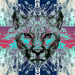 lioness head with creative abstract element on background