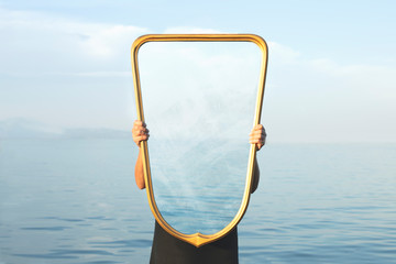 Deurstickers Lichtblauw surreal image of a transparent mirror; concept of door to freedom