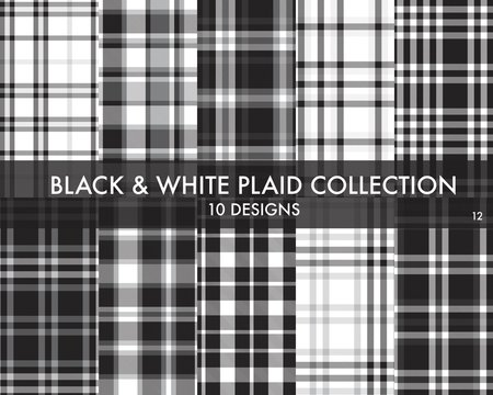 Black and White Plaid Tartan Seamless Pattern Collection