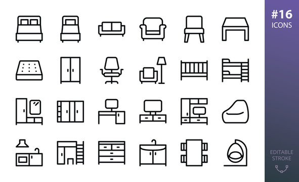 Furniture isolated icons set. Set of home furniture, loft table, double bed, bedding mattress, bean bag chair, tv stand, hallway furniture,  rattan swing chair, wardrobe closet outline vector icon