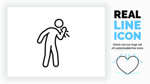 editable real line icon of a sick stick figure coughing and sneezing spreading the virus by salvia in the air in black clean and modern lines on a white background