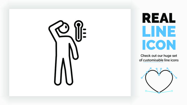 real line icon of a outline stick figure having a high fever and feeling hot with a thermometer showing high temperature and sweat on his head while feeling his head with his hand in black lines