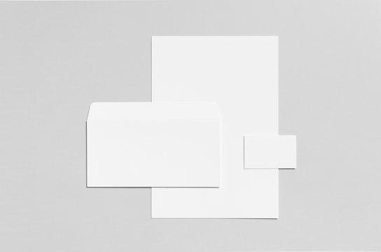 Branding / Stationery Mock-Up - White - Letterhead (A4), DL Envelope, Business Card (85x55mm)