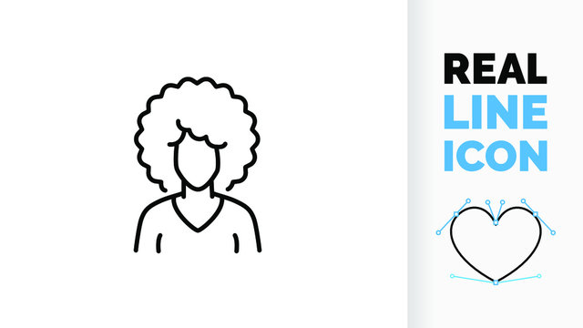 Vector real line icon of Afro American woman or girl with African curly hair or afro haircut of a black or brown skin colour lady depicting a race in iconic black stroke graphic design illustration