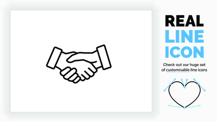 Editable line icon of two business people closing a deal or contract by a handshake in modern black lines on a clean white background as a EPS vector file