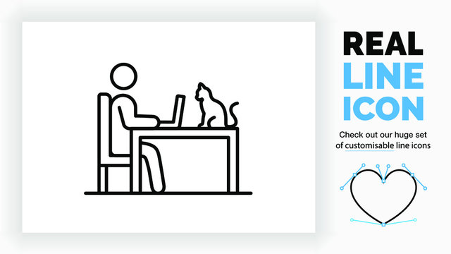 editable real line icon of a stick figure person working in a chair at his home table on a laptop with a cat pet as company in modern black lines on a clean white background vector EPS
