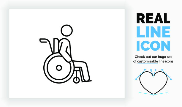 Editable real line icon of a old stick figure man in a wheelchair because of a disability in his health in modern black lines on a clean white background