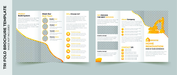 Tri fold brochure design. Corporate business template for try fold brochure or flyer. Layout with modern elements and abstract background. Creative concept folded flyer or brochure.