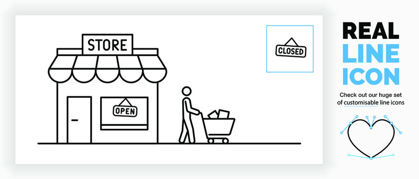 Editable real line icon of a store illustration with a open and closed sign and a customer stick man walking with a shopping cart filled with product boxes in modern black lines as a EPS vector file