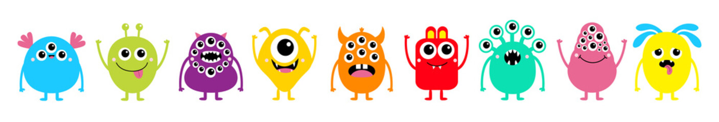 Happy Halloween. Monster set line. Cute kawaii cartoon colorful scary funny character icon. Eyes, horns, tongue, hands, fang teeth . Funny baby collection. Isolated. White background Flat design. Fotoväggar