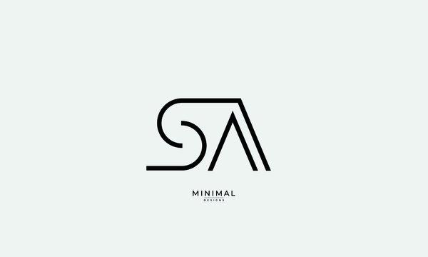 Alphabet letter icon logo SA