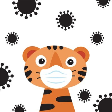 Cute COVID-19 hygiene promotion banner for children. Flat style illustration of tiger wearing protective mask and coronavirus around him