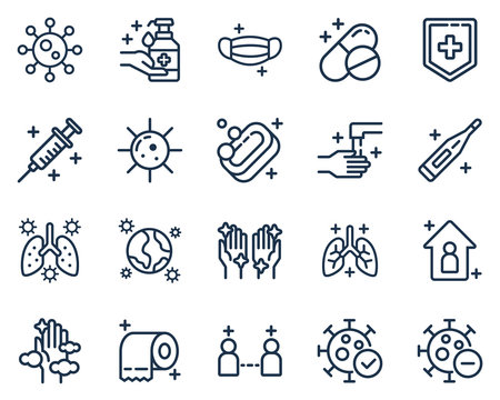 Set of corona virus, medical, and disease icon vector illustration in outline style.Medical icons for web,landing page, stickers, and background