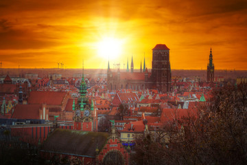 Beautiful sunrise over the old town in Gdansk, Poland
