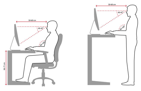 Ergonomics - Line art of Correct sitting and standing posture when using a computer