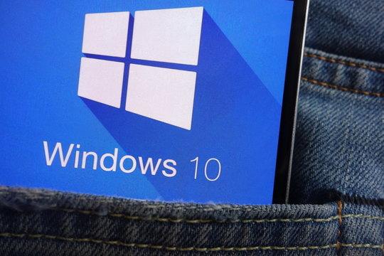 KONSKIE, POLAND - JUNE 01, 2018: Windows 10 logo displayed on smartphone hidden in jeans pocket