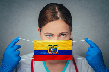 Coronavirus in Ecuador Female Doctor Portrait hold protect Face surgical medical mask with Ecuador National Flag. Illness, Virus Covid-19 in Ecuador, concept photo