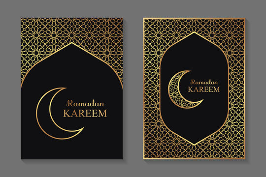 Set of two greeting cards for ramadan with golden arabic traditional ornament on a black background.
