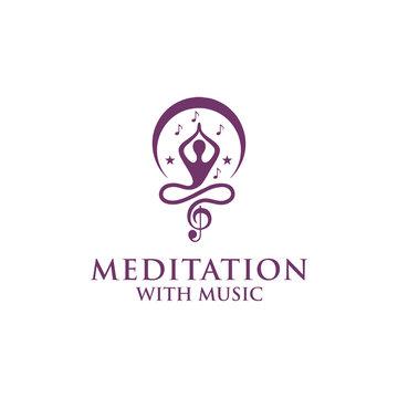 meditation with music logo design vector
